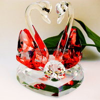 crystal pair swan wedding give away gifts red crystal swan