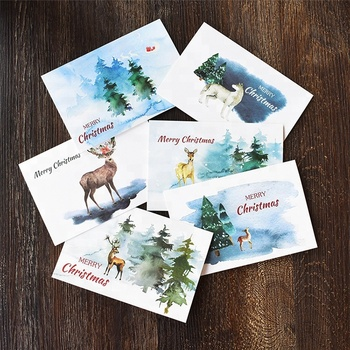 (Can be customized)Notes Watercolour Christmas Thank You Card with Envelope Stickers New Year Winter Holidays Custom Blank Insid
