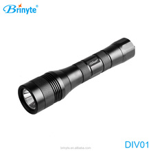 Brinyte DIV01 CE&RoHs underwater 200 meters IP 68 led scuba diving flashlight