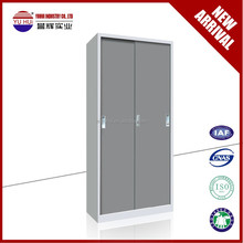 metal grey bedroom wardrobe design in sliding door / sliding door steel wardrobe locker