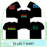OEM Customized 100% Cotton LED Tshirt for men Sound Activated Light Up Flashing Equalizer EL LED T-Shirt