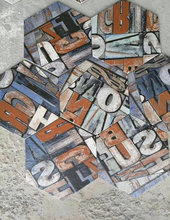 Graffiti Letter Ceramic Floor Tile Hexagon 26x30 Balcony Kitchen Tile
