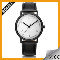 2015 china Classic boss bussiness geneva watch leather black custom men watch