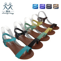 ladies flat roman thumb PVC dress sandals and shoes