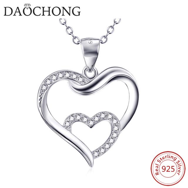 2017 luxury jewellery aliexpress wholesales diamond glowing double heart necklace