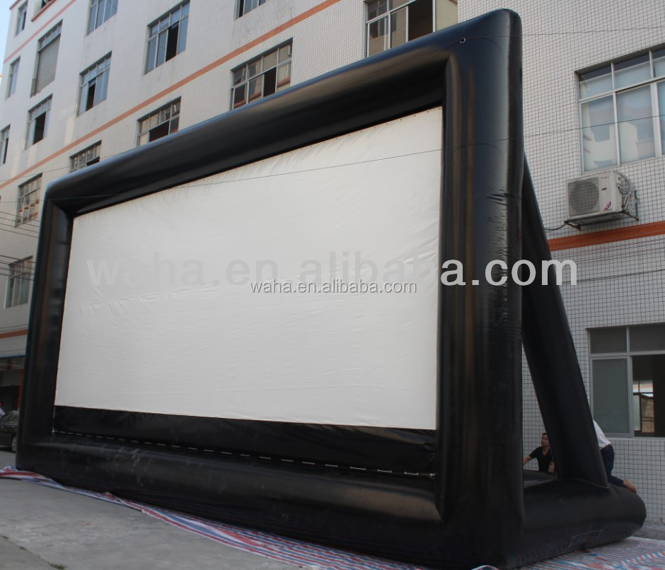 Factory direct sale customized white&black inflatable movie screen for advertising