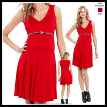 red sleeveless Maternity Sexy Evening Dresses For Pregnant Women