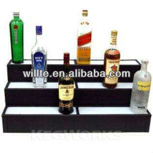 3-tire popular arcylic LED bottle display stand for wine,beer,drink ,liquor and cosmetic