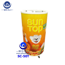 Four Wheels outdoor Promotion Glass door round barrel can shape fridge
