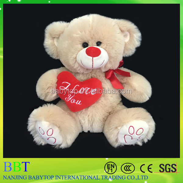 Custom New design Gummy big teddy Bear stuffed toy with red heart for gift