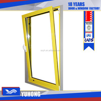 Swing opening aluminum bathroom window screens with frosted glass