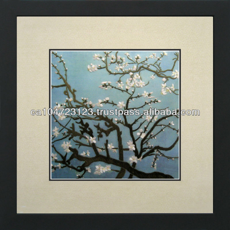 36092-Almond Branches in Bloom by Van Gogh--Susho, King Silk Art 100% Handmade Silk Embroidery