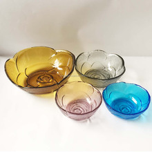 rose shaped glass fruit bowl set colored bowl set glass 16CM salad bowl