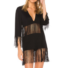 YL fashion hot sale western women black long sleeve sexy mini tunic dress with fringed tassel clothing ladies for Wholesale