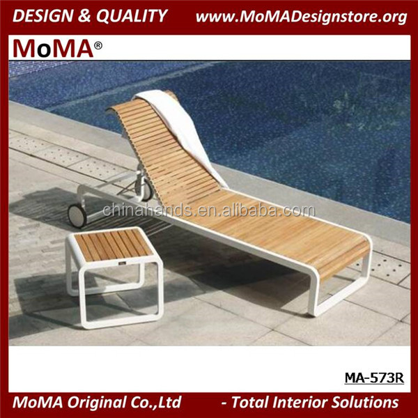 MA-573R Modern Outdoor Sun Lounger With Side Table, Aluminium Sunbed