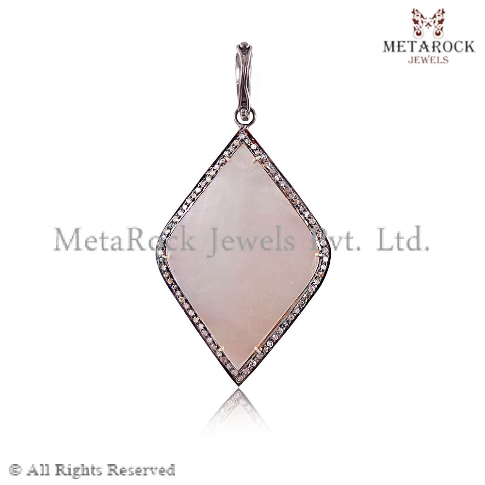Rose Quartz Gemstone Pendant Diamond Pendant, Fashion Gemstone Pendant Designer Pendant, Party Wear Pendant Gemstone Pendant