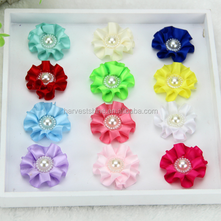 Handmade handmade fabric flowers making with beads center