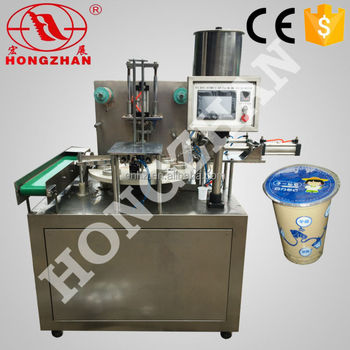 Hongzhan KIS900 for plastic cup or box automatic rotary type yogurt cup filling sealing machine