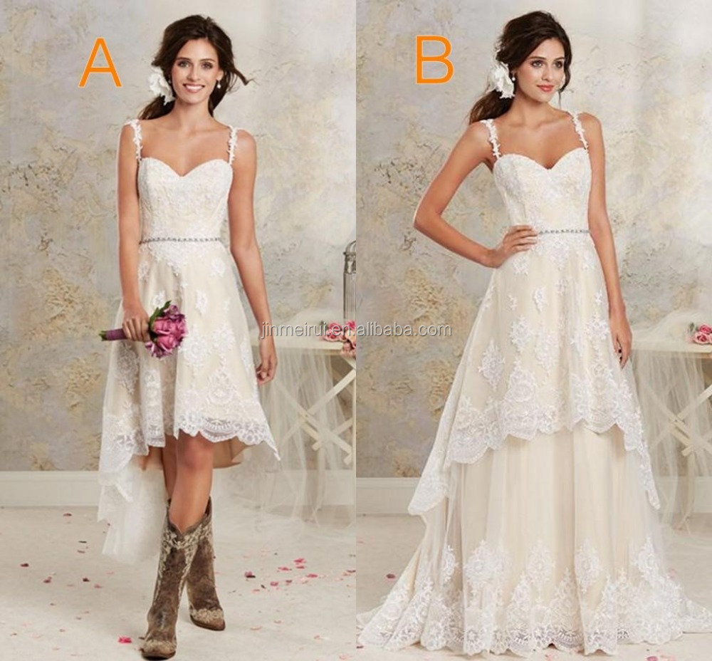 Two styles lace country wedding dresses high low short for Short country wedding dress