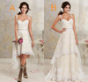 Two Styles Lace Country Wedding Dresses High Low Short Bridal Dresses And Floor length Multi Layers Bohemian Gowns