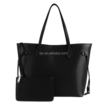 Fashion Black Leather Handbag Factory BSCI