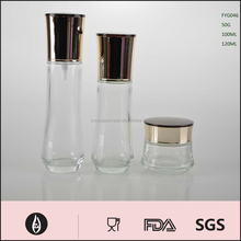 China Factory Portable Cosmetic Glass Lotion Bottle and Cream Jar