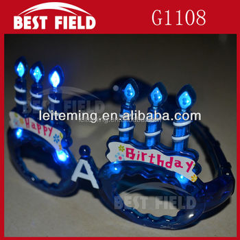 10LED Happy birthday Flashing glasses