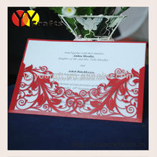 Laser cut red pocket fold flower china lace wedding invitation card