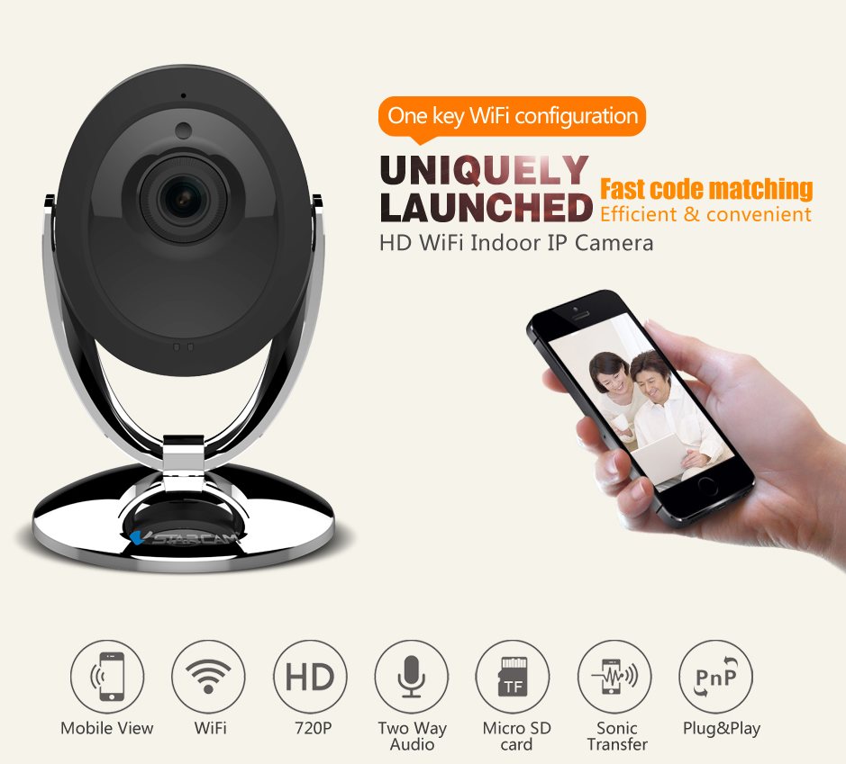HD 1mp Indoor h.264 P/T wifi Wireless hidden P2P ip camera