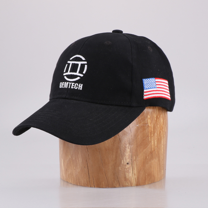 Red cotton 6 panel unisex custom embroidered fitted baseball caps and hats With America Flag Logo