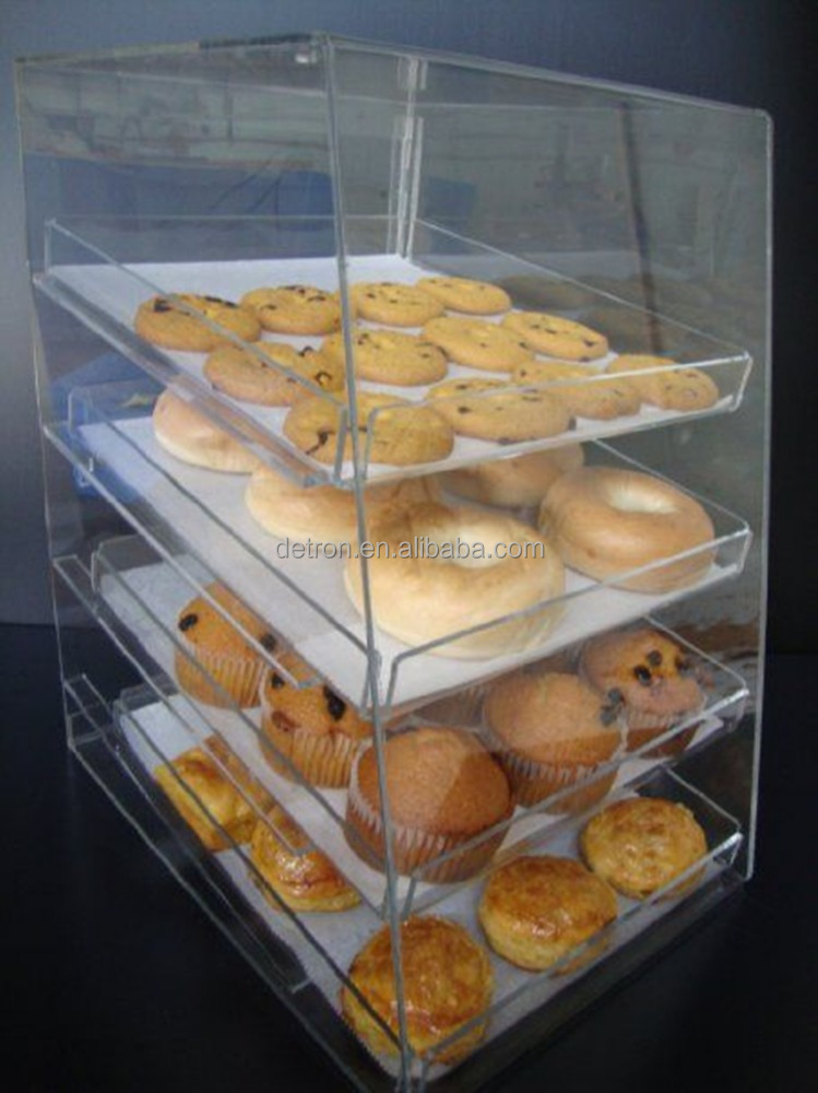 3 Tier Acrylic bakery display case glass bread display cabinet