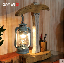 Original Mediterranean style glass kerosene lamps solid wood table light
