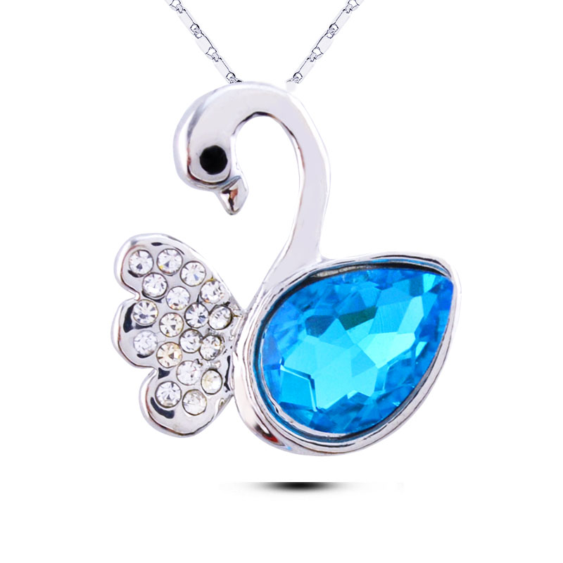 N247 Austrian Crystal Turquoise Swan Necklace Dainty Silver Necklaces For Women Allergy Free Ladies Accessories Wholesale China