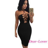 Womens Dresses Wholesale Clothing Black Halter Lace-up Club Party Midi Dress