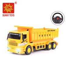 hot selling rc hobby 4 channel dump truck radio controlled construction toys with music