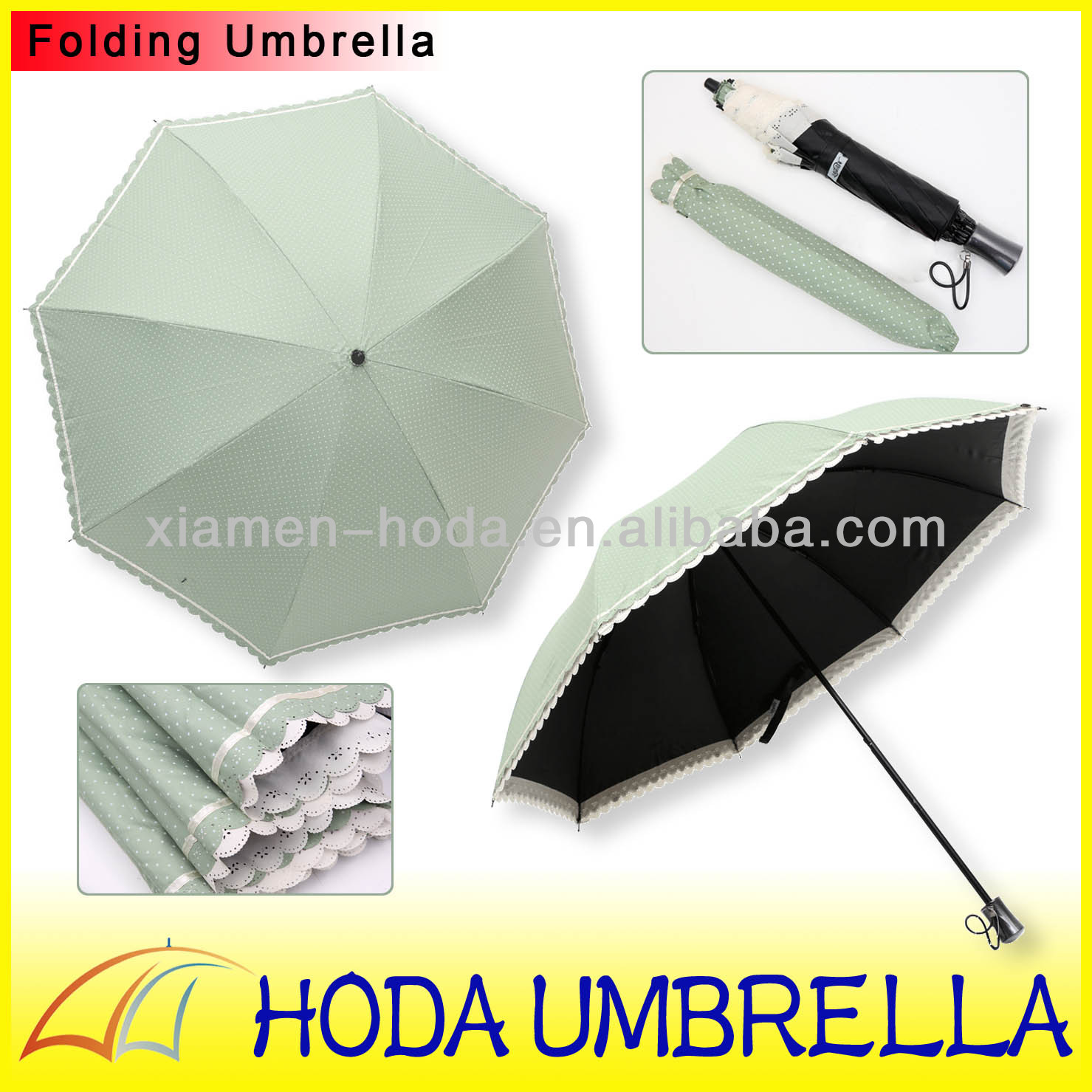 Elegant 2-fold black coating parasol with double layer lace