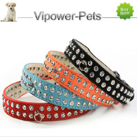 PU Leather Pet Collars Adjustable Fashion Diamante Dog Collar Crystal Rhinestone Puppy Necklace Collar