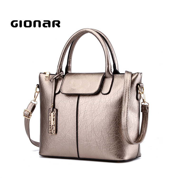 China supplier ladies over the shoulder bronze leather handbag designer tote bags