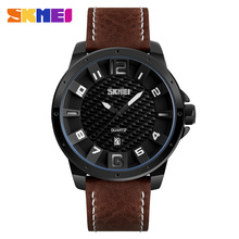 skmei watch men luxury strap leather genuine japan movt watch stainless steel black cool auto date