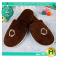 Drop-needle Coral Velvet Hotel Slippers / Luxury Thick Warm Fleece Household Slippers / Washable Brown Polyester Velour Slippers
