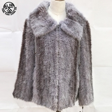 wholesale china russian high quality winter coats multi color women real mink fur collar coat parka fur jacket girl clothing