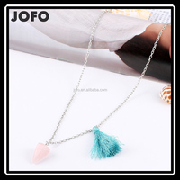 Wish 2016 Hot Sell Models Natural Stone Pyramidal Energy Rose Quartz Crystal Pendant Tassel Necklace
