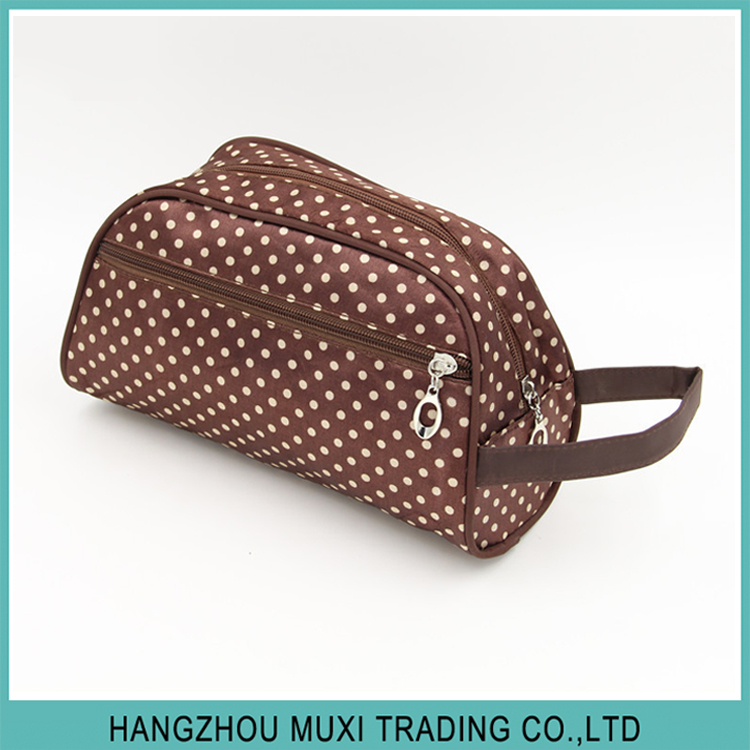 handy satin travel wash cosmetic bag with dots