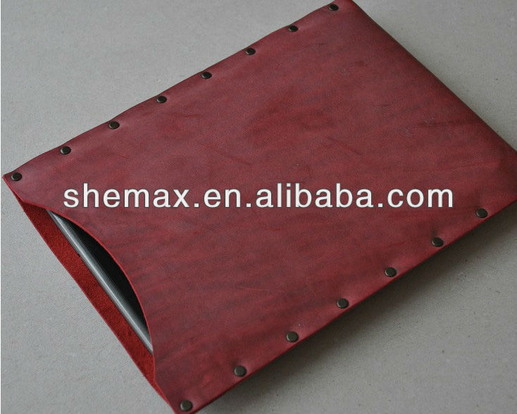 For ipad mini cover bag red waxed genuine leather sleeve
