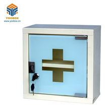 Yoobox Wall Mounted Metal Medicine Storage Cabinets with Glass Sliding Door