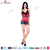 wholesale woman mature lingerie black lace trimming red sexy women hot fashion show lingerie