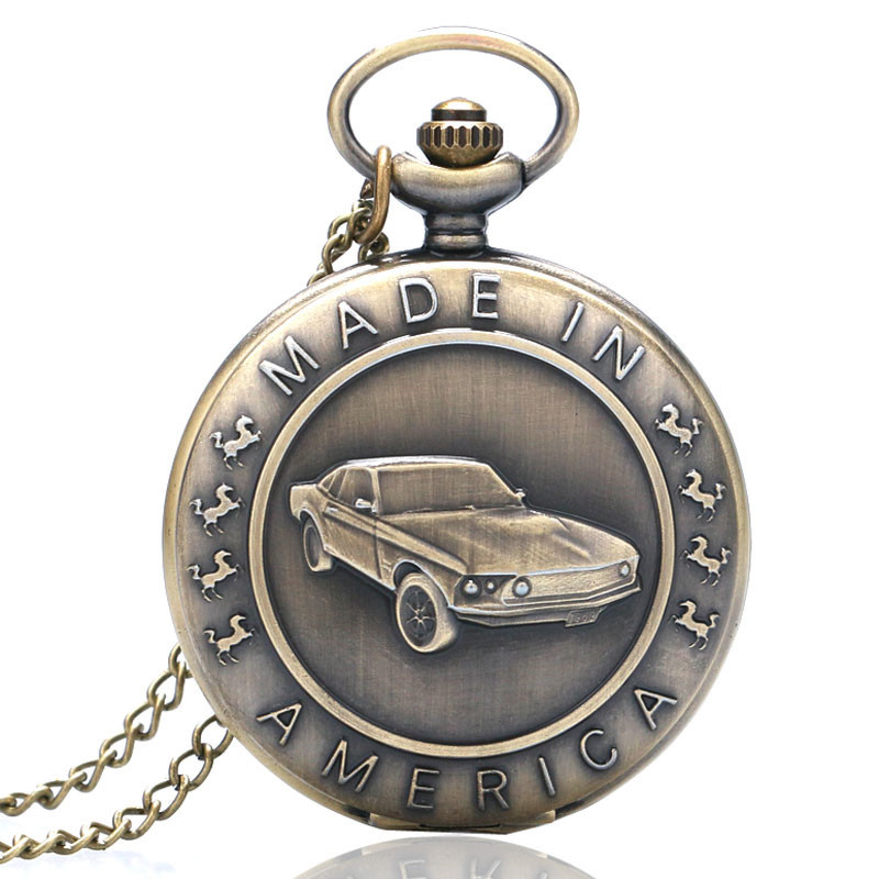 Antique Car Pocket Watch Classic Mustang Sedan Made In America Carving Pendant Chain Cool Men Clock Best Gifts for Boys Children (1)