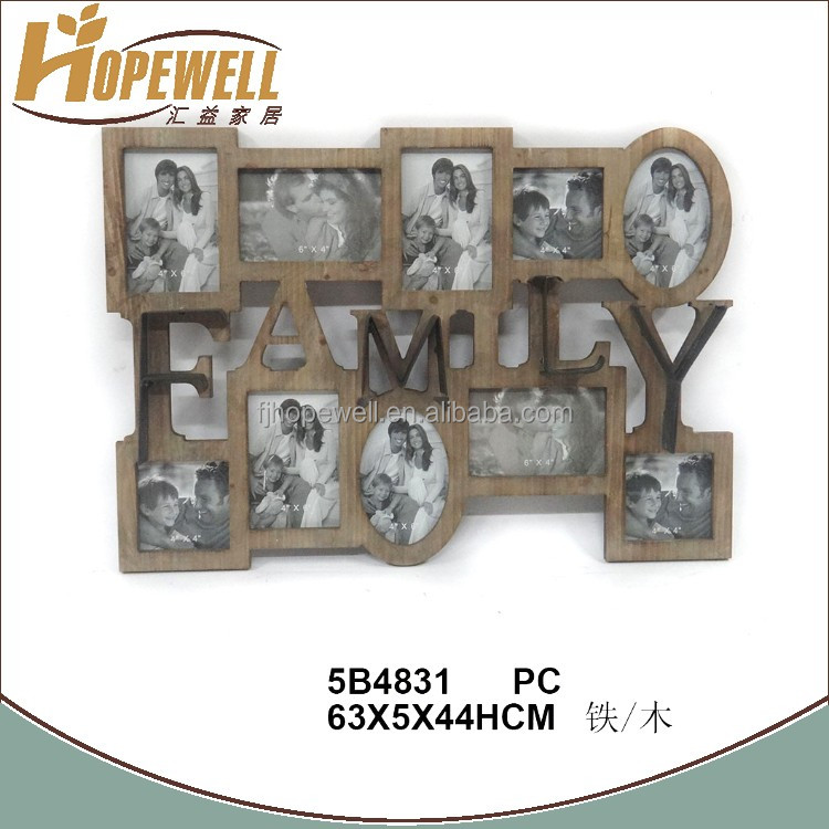 Wholesale wood multi baby funny naturalism family puzzle photo frame