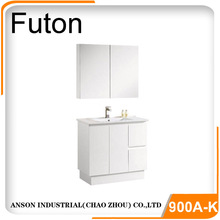 90cm Floor standing bathroom vanity with 900mm thin vanity top two soft close drawers and two doors