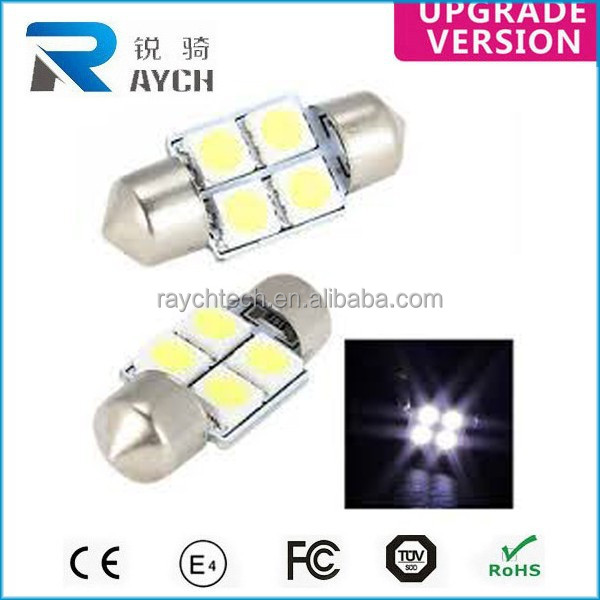 4SMD 5050 White Car LED Reading Dome Festoon Lights Interior Roof Lamps